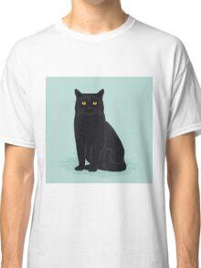Black cat pastel mint cat breed cat lady gifts customizable pet portraits cute cat art Classic T-Shirt