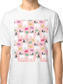 French Bulldog macaron paris cute dog print kids pets frenchie puppy dog pet portrait Classic T-Shirt