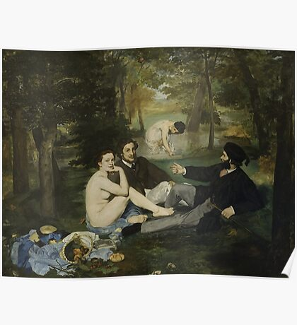 Edouard Manet - Luncheon on the Grass 1863 , French  Impressionism ,  Landscape  Poster