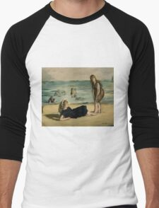 Edouard Manet - On the Beach 1868 , Impressionism  Seascape  Men's Baseball ¾ T-Shirt