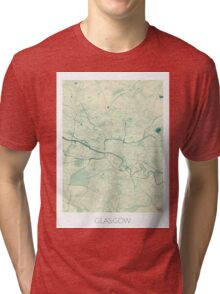 Glasgow Map Blue Vintage Tri-blend T-Shirt
