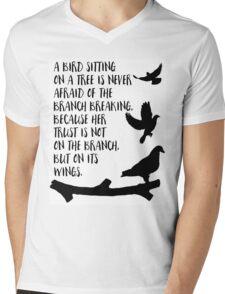 A bird sitting on a tree Mens V-Neck T-Shirt