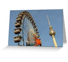 Ferris Wheel with Berlin TV Tower, Alex, Germany  Greeting Card