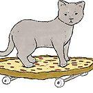 Cat on a Pizza Skateboard by Bela Wilson