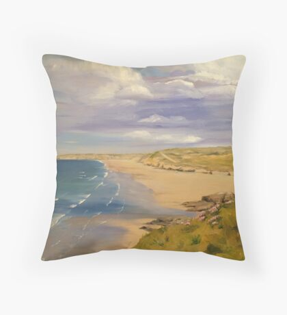 Perranporth Beach Painting Throw Pillow