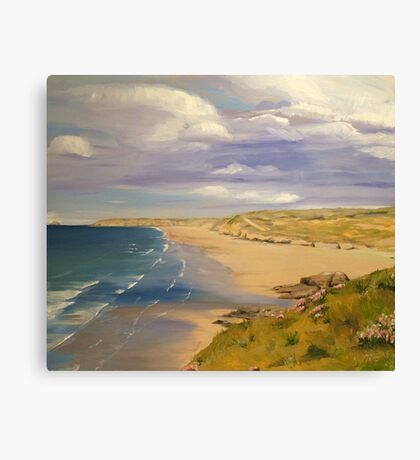 Perranporth Beach Painting Canvas Print