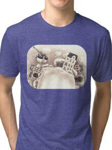 Cute Cartoon Flying Penguin Tri-blend T-Shirt