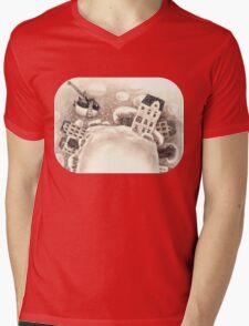 Cute Cartoon Flying Penguin Mens V-Neck T-Shirt