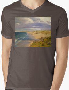 Perranporth Beach Painting Mens V-Neck T-Shirt