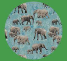Sweet Elephants in Soft Teal Baby Tee