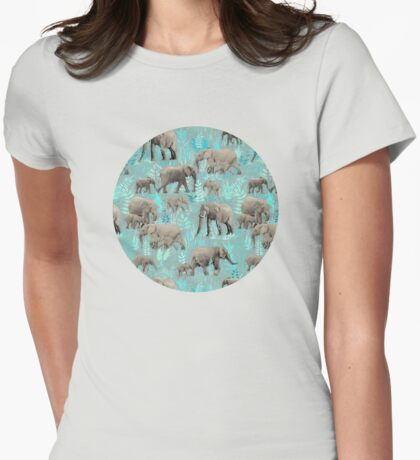 Sweet Elephants in Soft Teal Womens Fitted T-Shirt