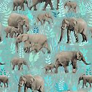 Sweet Elephants in Soft Teal by micklyn