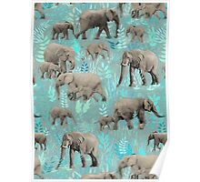 Sweet Elephants in Soft Teal Poster