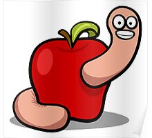 Cartoon Apple Worm Clip-Art Poster