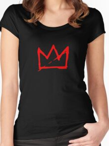 Red Basquiat crown Women's Fitted Scoop T-Shirt