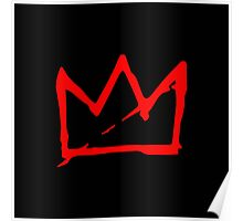 Red Basquiat crown Poster