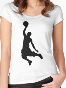 Basketball Player, Slam Dunk Silhouette Women's Fitted Scoop T-Shirt