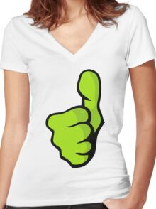 Thumbs Up Women's Fitted V-Neck T-Shirt