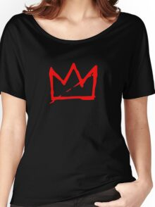 Red on white Basquiat Crown Women's Relaxed Fit T-Shirt