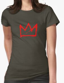 Red on white Basquiat Crown Womens Fitted T-Shirt