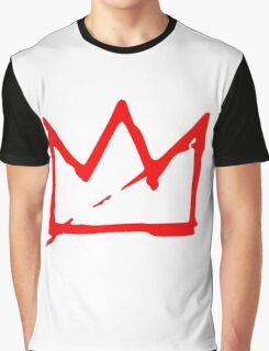 Red on white Basquiat Crown Graphic T-Shirt