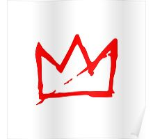 Red on white Basquiat Crown Poster