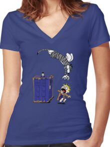 Calvin And Hobbes. Women's Fitted V-Neck T-Shirt