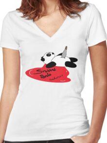 Stabbed Panda Logo Women's Fitted V-Neck T-Shirt