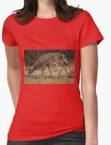 White-Tailed Deer Eating Womens Fitted T-Shirt