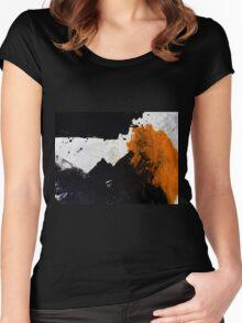 Minimal Orange on Black Women's Fitted Scoop T-Shirt