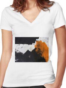 Minimal Orange on Black Women's Fitted V-Neck T-Shirt