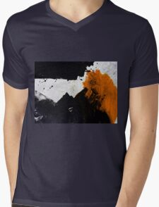 Minimal Orange on Black Mens V-Neck T-Shirt