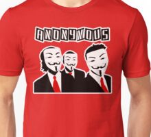Anonymous Gentlemen with V Masks and Suits Unisex T-Shirt