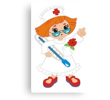 Cartoon Nurse Girl Canvas Print