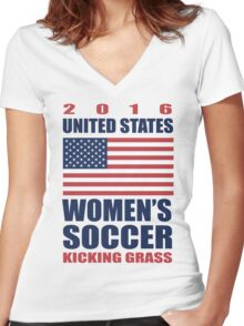 United States Kicking Grass Women's Fitted V-Neck T-Shirt