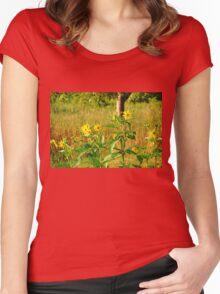 Golden Yellow Ray Florets Women's Fitted Scoop T-Shirt