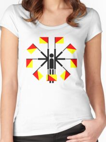 Semaphore Flag Waving Positions, Stick-man Sign Women's Fitted Scoop T-Shirt