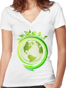 Earth Nature Ecology Women's Fitted V-Neck T-Shirt