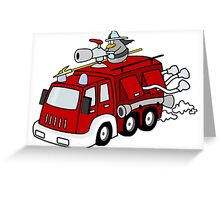 Fire Engine Penguin Greeting Card
