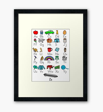 Kid's Colored Learning Alphabet Letters Framed Print