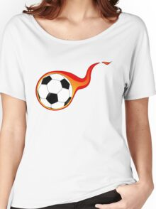 Flaming Fast Soccer Ball Women's Relaxed Fit T-Shirt