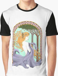 Art Nouveau Woman in Lavender Graphic T-Shirt