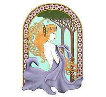 Art Nouveau Woman in Lavender Photographic Print