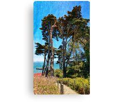 Golden Cypress Trees Canvas Print