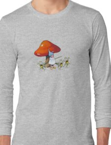 Red Toadstool with Little Gnome Girl and Daisies Long Sleeve T-Shirt