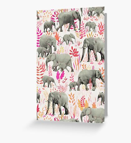 Sweet Elephants in Pink, Orange and Cream Greeting Card