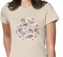Sweet Elephants in Pink, Orange and Cream Womens Fitted T-Shirt