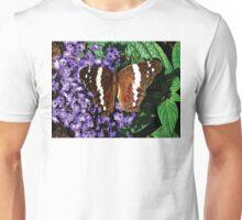 Black Butterfly on Heliotrope Unisex T-Shirt