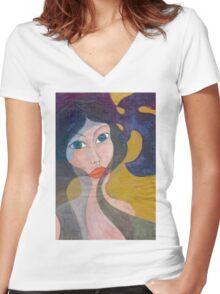 Fancy Women's Fitted V-Neck T-Shirt