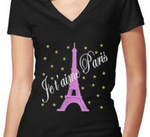 JE T'AIME PARIS FOREVER Women's Fitted V-Neck T-Shirt